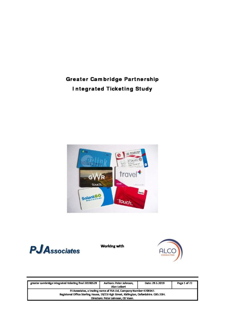Greater Cambridge Integrated Ticketing Report