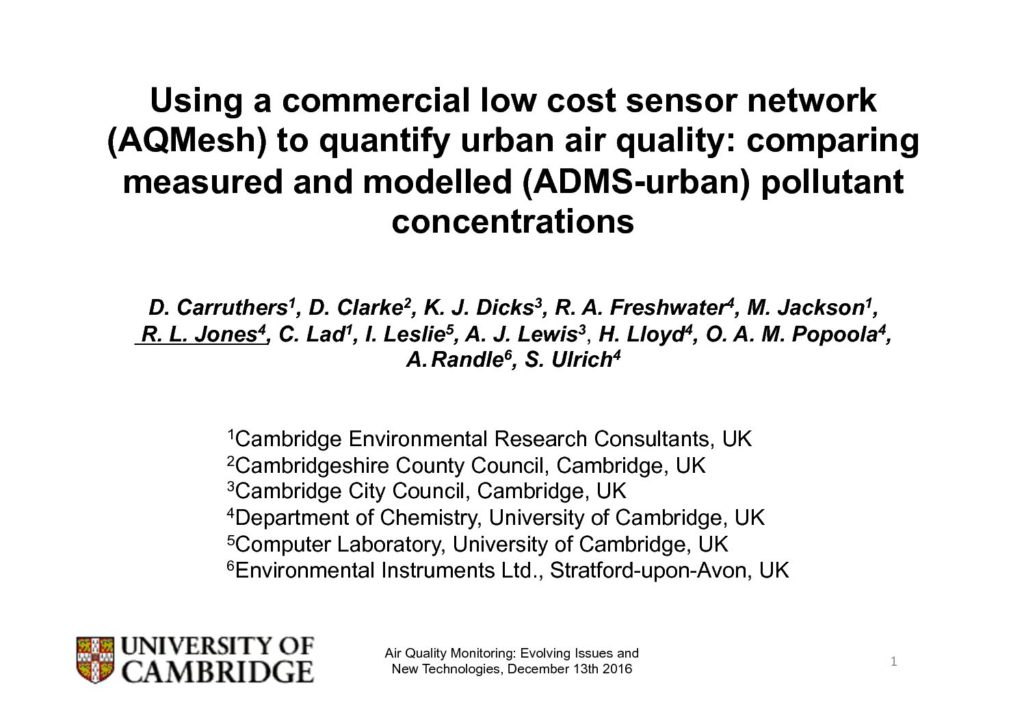 Using a commercial low cost sensor network (AQMesh) to quantify urban air quality