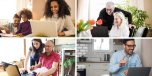 Four separate images of people in their homes looking at laptops and smiling.