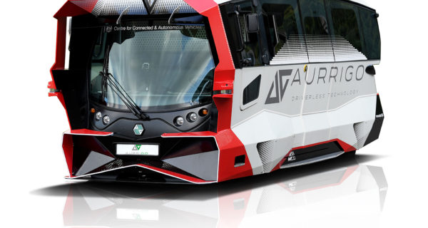 Aurrigo's autonomous vehicle. A futuristic-looking shuttle.