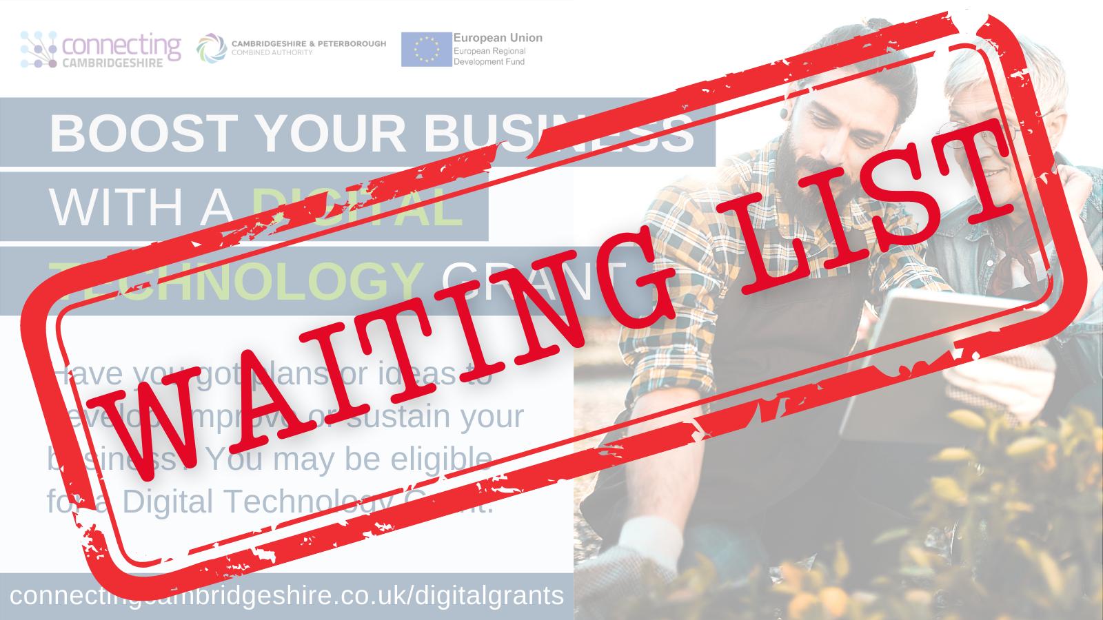 NOTICE: Digital Technology Business Grant Scheme oversubscribed